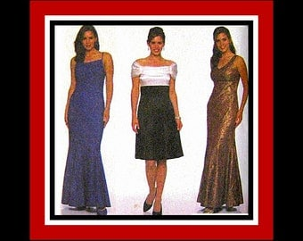 Gorgeous Evening -Cocktail Dress- Sewing Pattern- NINE STYLES- Off Shoulder- Empire Waistline-Princess Seams- Uncut- Size 6-10- OOP-Rare
