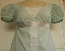 Seafoam green and white Regency gown