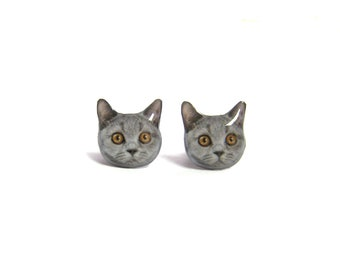 Cute Grey Short hair Cat Kitten Stud Earrings - A025ER-C12 / Pet memorial gift / Pet Jewelry / personalized / Cat Lover / Pet Lover Gift
