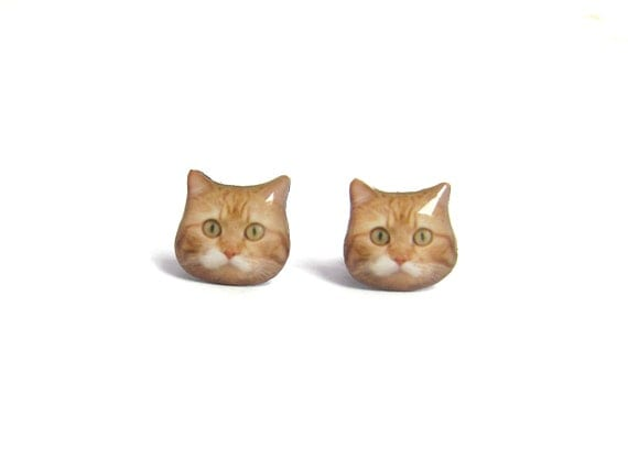 Super Fat Orange Cat Kitten Stud Earrings / Cat Lover / Orange
