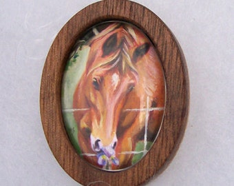Hand painted Horse Equestrian Jewelry Art Pendant Miniature Oil Painting