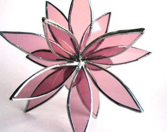 Stained Glass 3D flower - Suncatcher - In Full Bloom In Full Bloom Clear Pink Flower