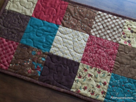 Patchwork Quilted Table Runner Late Bloomers Browns Reds Greens Tans