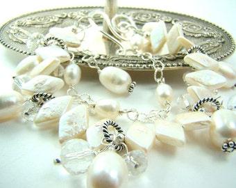 Pearl bracelet, white freshwater pearls, double strand bracelet, bridal fashion,... White diamonds