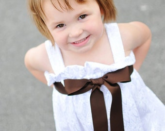 White Fancy Eyelet..Flower Girl, Baptism or Special Occasion Zadee Dress..Choice of Ribbon Color
