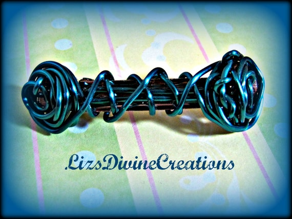 RESERVED FOR JENNIFER H 2 Brown Wire Wrapped Barrettes 3 Inch Very Small Custom
