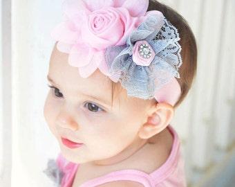 Infant Baby Pink Gray headband, newborn headband, photography prop headband  Chiffon rossette flower headband