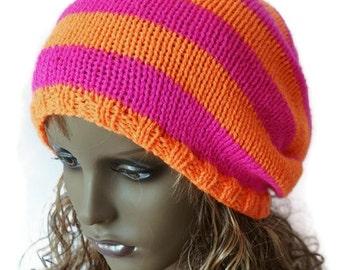 Knitted Slouchy Beanie Dreads Hat Shocking Pink Bright Orange