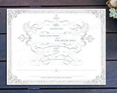 "Vintage Modern Marriage Certificate - 13"" x 10"""