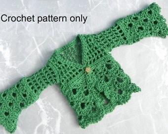 Crochet pattern (PDF) for 16-inch fashion doll - Emerald Isle lacy cardigan