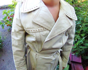 Vintage Long Leather Coat A-Line Bone Cream w/ Tan Cut Outs size 6 to 8 small medium