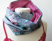 CLEARANCE SALE Infinity Reversible Circle Scarf in Pink and Circus print fabric