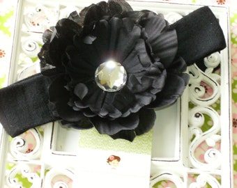 Steal of the Day----Boutique Baby Girl Toddler Flower Headband-----Peony Princess-----Black----