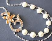 Bridesmaid Necklace Bridal Jewelry Flower Necklace Wedding Jewelry Orange Necklace Ivory Pearl Necklace Fall Wedding Autumn Jewelry Gift