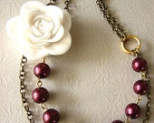Bridesmaid Jewelry Burgundy Necklace Flower Necklace Bib Statement Necklace Maroon Jewelry Bib Necklace