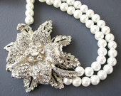 Bridal Jewelry Statement Necklace Wedding Jewelry Rhinestone Flower Necklace Bridal Crystal Necklace Double Strand Retro