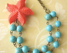 Starfish Necklace Turquoise Jewelry Coral Necklace Starfish Jewelry Double Strand Bib Necklace Wedding Beach Necklace Bridesmaid Gift