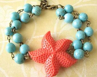 Starfish Bracelet Turquoise Jewelry Coral Bracelet Beaded Bracelet Starfish Jewelry