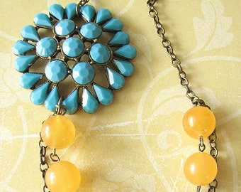 Statement Necklace Flower Necklace Turquoise Jewelry Yellow Necklace Bridesmaid Jewelry Beadwork