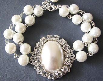 Pearl Wedding Bracelet Wedding Jewelry Pearl Bracelet Bridal Jewelry Crystal Bridesmaid Bracelet Maid of Honor Gift