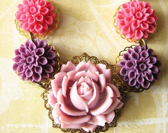 Flower Necklace Purple Jewelry Statement Necklace Spring Jewelry Jewelry Rose Necklace Bib Necklace