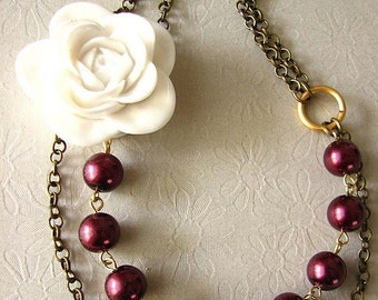 Bridesmaid Jewelry Bib Necklace Burgundy Necklace Flower Necklace Statement Necklace Maroon Jewelry Gift For Her