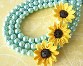 Sunflower Necklace Sunflower Jewelry Statement Necklace Aqua Necklace Turquoise Jewelry Multi Strand Necklace Bridesmaid Gift For Her