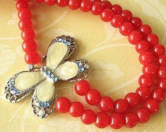 Statement Necklace Butterfly Jewelry Red Necklace Enamel Jewelry Butterfly Necklace Gift Double Strand Beadwork