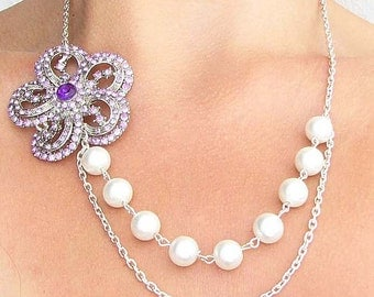 Purple Bridal Jewelry Bridesmaid Jewelry Rhinestone Flower Necklace Wedding Jewelry Pearl Bridal Necklace