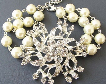 Bridal Bracelet Wedding Jewelry Pearl Bracelet Bridal Jewelry Crystal Bracelet Bridesmaid Gift Set Flower Bracelet