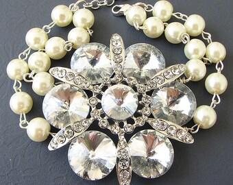 Wedding Bracelet Wedding Jewelry Flower Bracelet Bridal Jewelry Bridesmaid Jewelry Set Crystal Rhinestone Bracelet