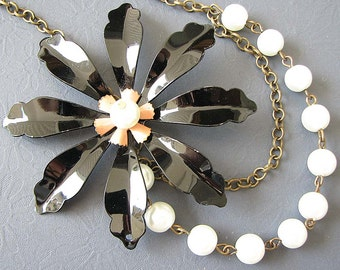 Statement Necklace Black Jewelry Enamel Flower Necklace Bridesmaid Jewelry Pearl Necklace Bib Necklace Gift For Her