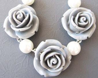 Flower Necklace Bridesmaid Jewelry Grey Necklace Grey Jewelry Rose Necklace Single Strand Beadwork