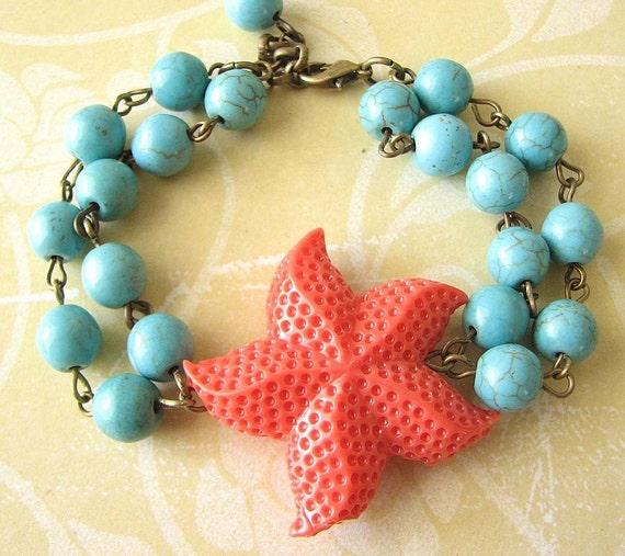 Starfish Bracelet Starfish Jewelry Coral Bracelet Turquoise Jewelry Turquoise Bracelet Beadwork Charm Bracelet Bridesmaid Gift Set