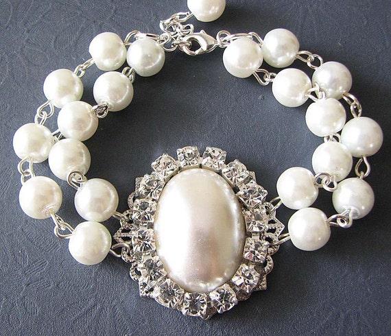 Pearl Wedding Bracelet Wedding Jewelry Pearl Bracelet Art Deco Bridal Jewelry Crystal Bridesmaid Bracelet Maid of Honor Gift