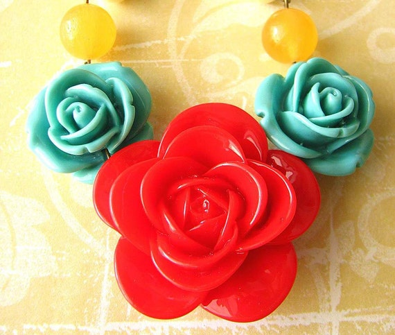 Statement Necklace Flower Necklace Bridesmaid Jewelry Red Necklace Rose Jewelry Bib Necklace Gift For Her
