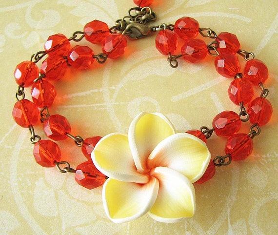 Charm Bracelet Bridesmaid Jewelry Flower Bracelet Orange Jewelry Yellow Bracelet Beaded Bracelet Gift For Her