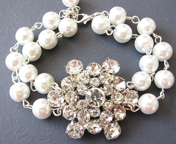 Wedding Bracelet Bridal Jewelry Pearl Bracelet Wedding Jewelry Bridesmaid Gift Crystal Rhinestone Bracelet