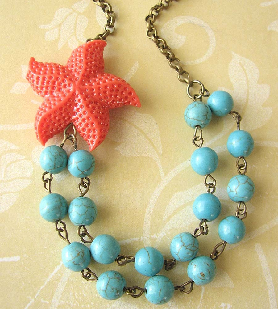 starfish necklace turquoise jewelry coral necklace starfish. Black Bedroom Furniture Sets. Home Design Ideas