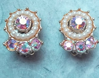 Vintage Earrings with Aurora Borealis Rhinestones and Faux Pearls