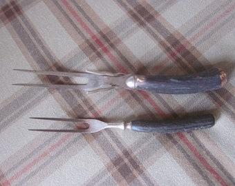 Antique Stag Horn Handled Cutlery Carving Fork Set