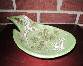 Vintage Mid Century Modern Beautiful Green Pottery Bowl with White Bird on Pine Branch