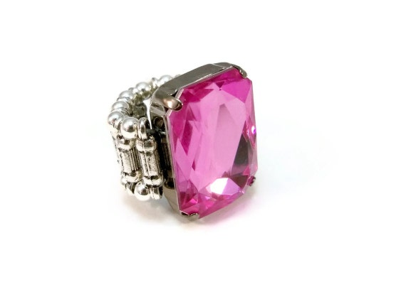 """Pink Cocktail Ring, Faceted """"Gem"""", Stretch Ring"""