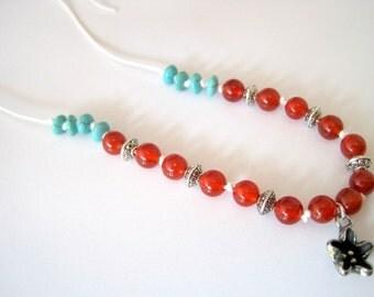 Carnelian and Howlite Adjustable Boho Necklace