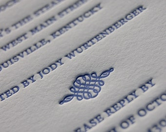 SAMPLE Letterpress Wedding Invitations - FEDEX 2 Business Day Shipping