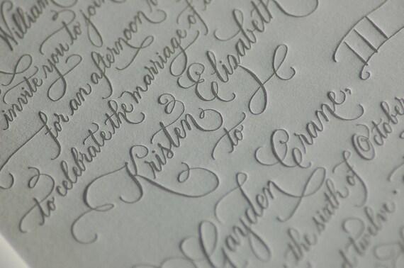 Custom Calligraphy Letterpress Wedding Invitations  DEPOSIT