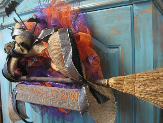 FLYING LESSONS large wreath w/ bats, broom, sign in purple/ orange/ black on deco mesh wreath- Halloween wreath