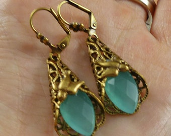 Vintage Victorian Inspired Fluorite Gemstone Dangle Brass Earrings - Free Gift Tin and U.S. Shipping