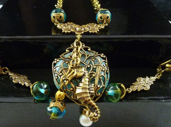 Handmade Seahorse Ocean Jasper Necklace Set in the Victorian Style