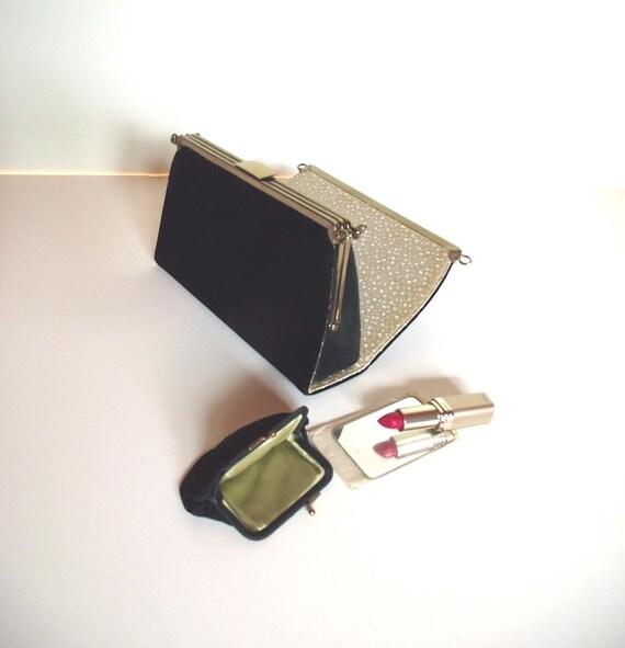 Vintage 50s Evening Day Purse. L&M Edwards Interchangeable Black Velvet Clutch w Day Purse Change Purse and Mirror